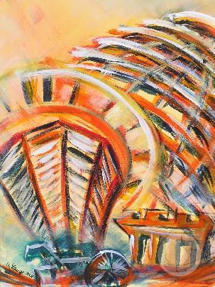 Die Berliner Reichstagskuppel als abstrahiertes Acrylbild