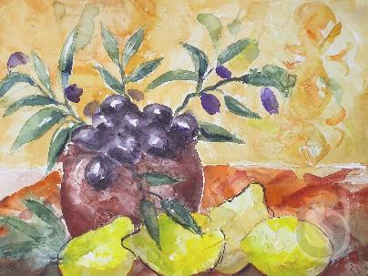 Toskana  - Stillleben mit gelben Zitronen